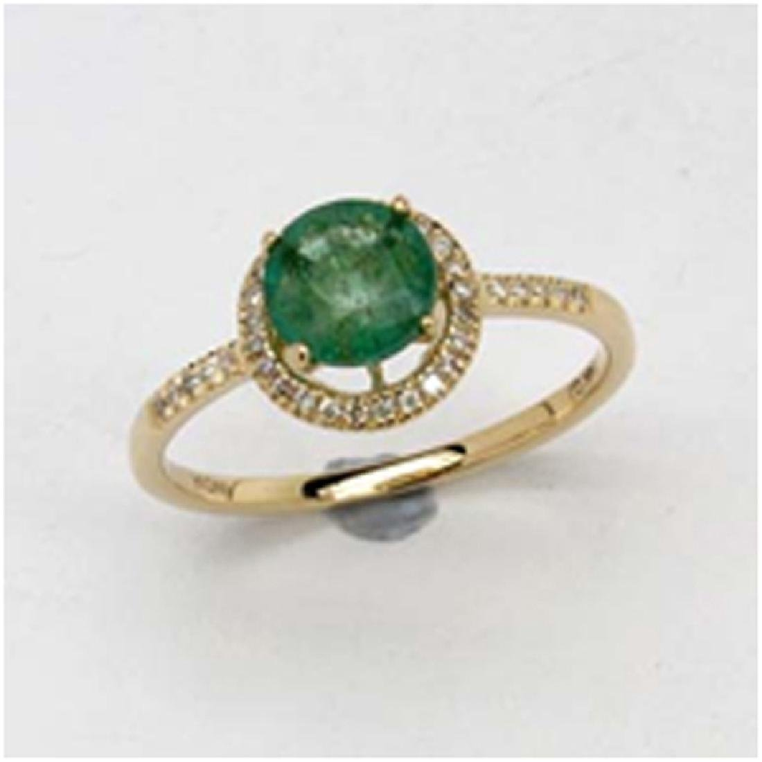 *Fine Jewelry 14K Gold, 1.98CT Zambian Emerald Round