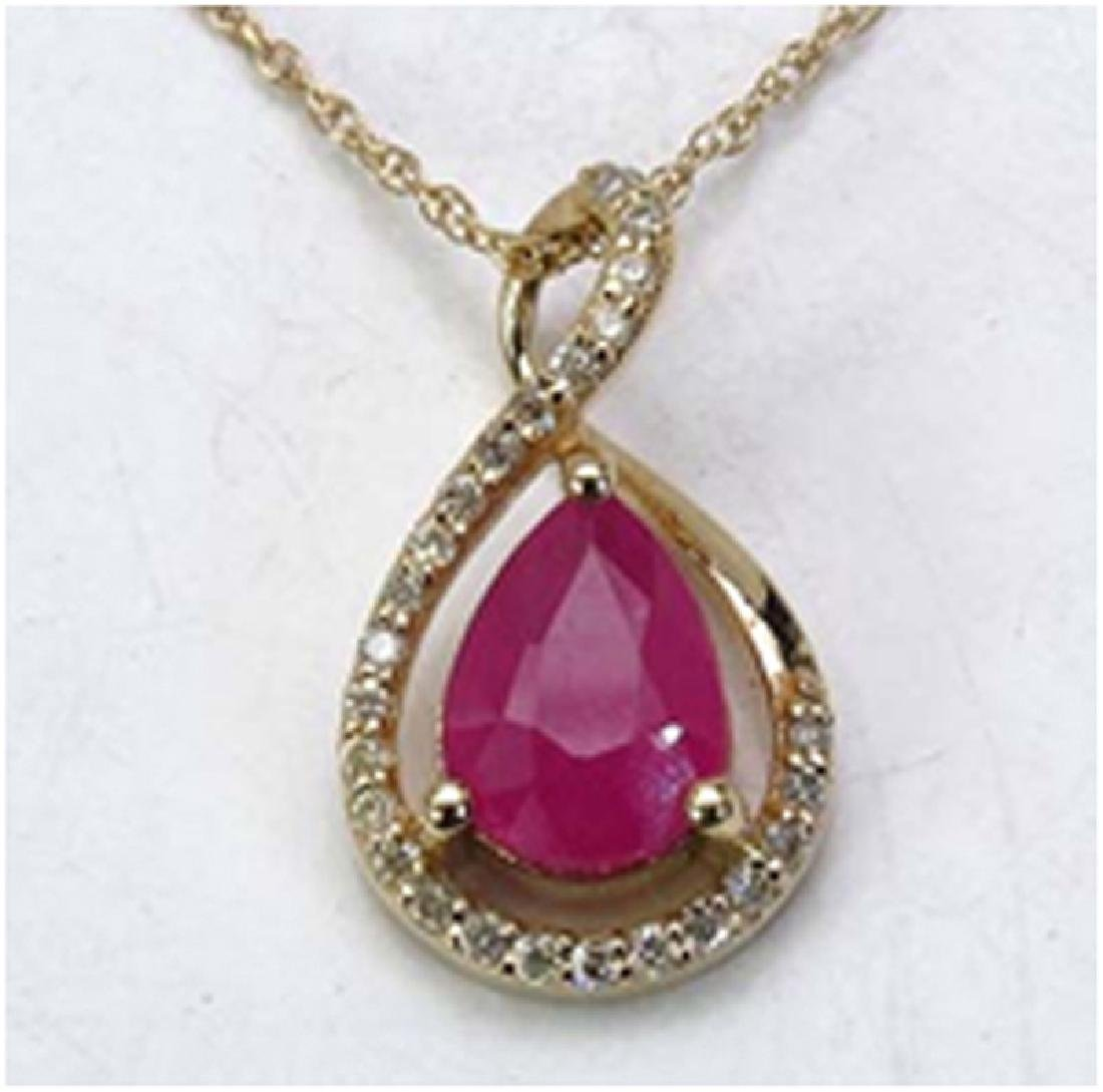 *Fine Jewelry 14K Gold, 1.88CT Ruby Pears And White