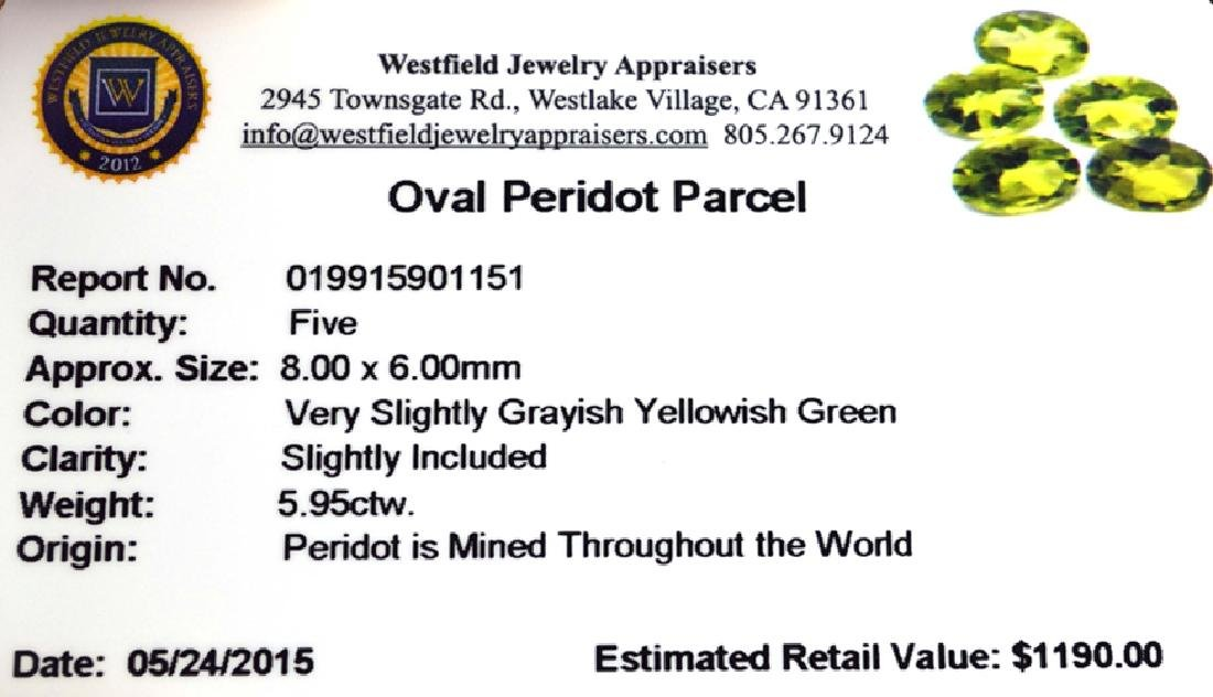 APP: 1.2k 5.95CT Oval Cut Green Peridot Parcel - 2