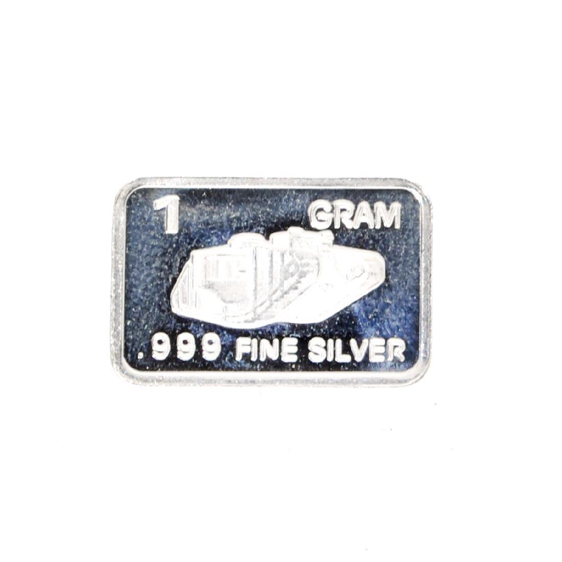 1 Gram Tank Design .999 Fine Silver Bar