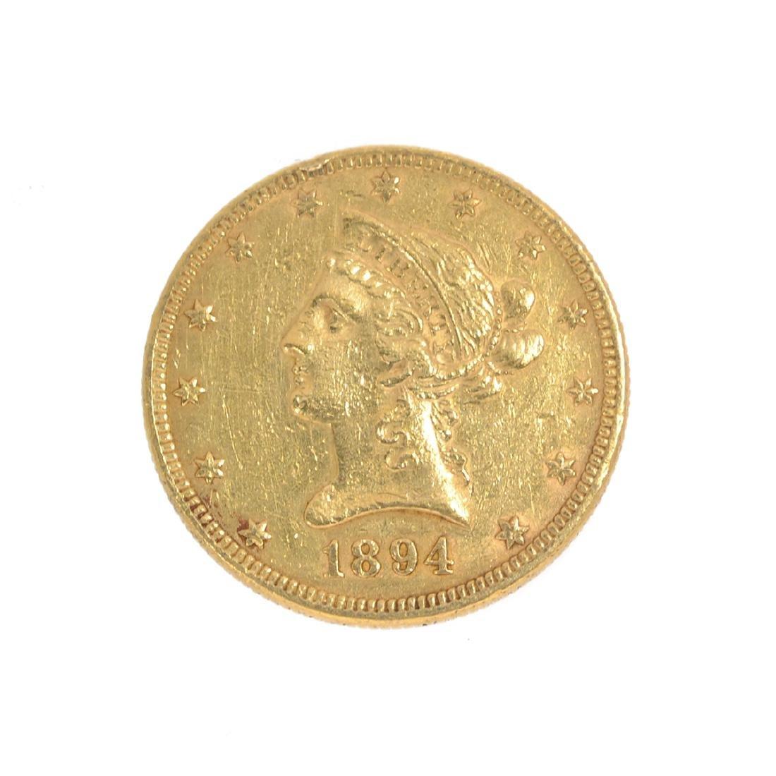*1894 $10 U.S. Liberty Head Gold Coin (DF)