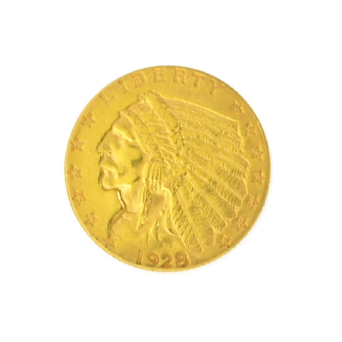 *1928 $2.50 U.S. Indian Head Gold Coin - Great