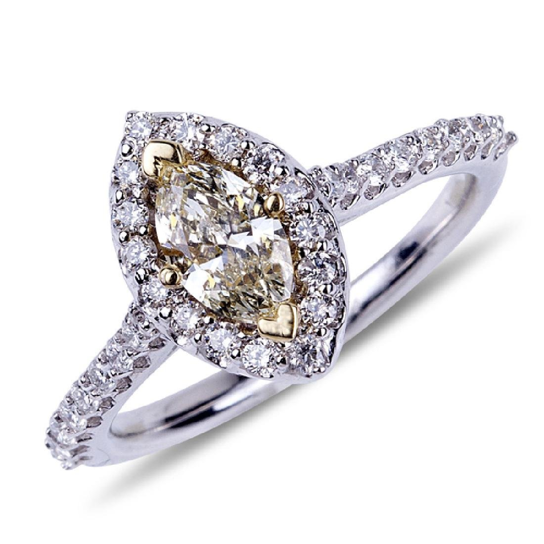 APP: 9.2k *14 kt. Two Tone Gold, 0.55CT Marquise Cut