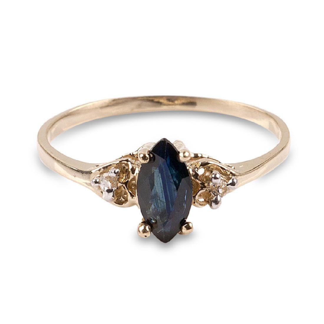 APP: 0.6k 14 kt. Gold, 0.55CT Blue And White Sapphire