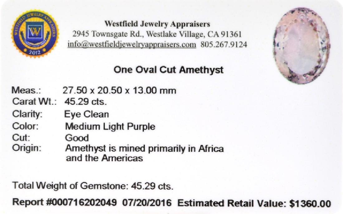 APP: 1.4k 45.29CT Oval Cut, Light Purple Amethyst - 2