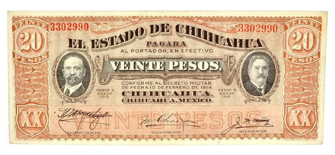 1915 Mexico Revolutionary Chihuahua 20 Pesos Note