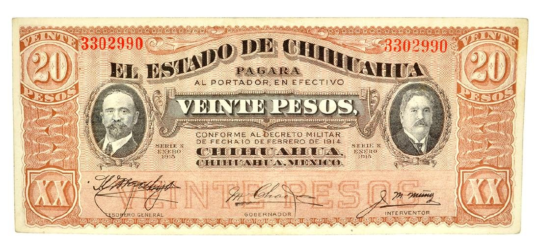 1915 Mexico Revolutionary Chihuahua 20 Pesos Note
