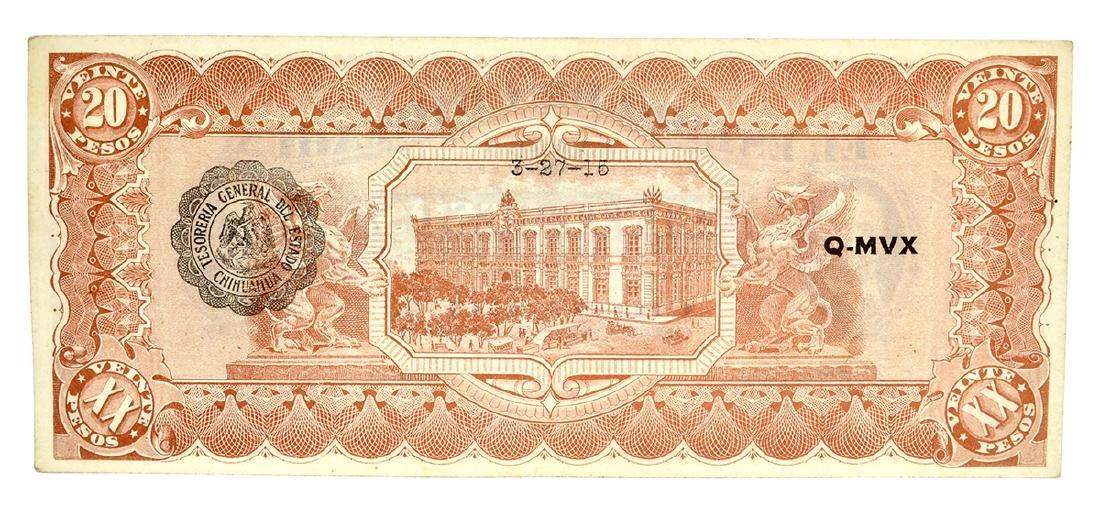 1915 Mexico Revolutionary Chihuahua 20 Pesos Note - 2