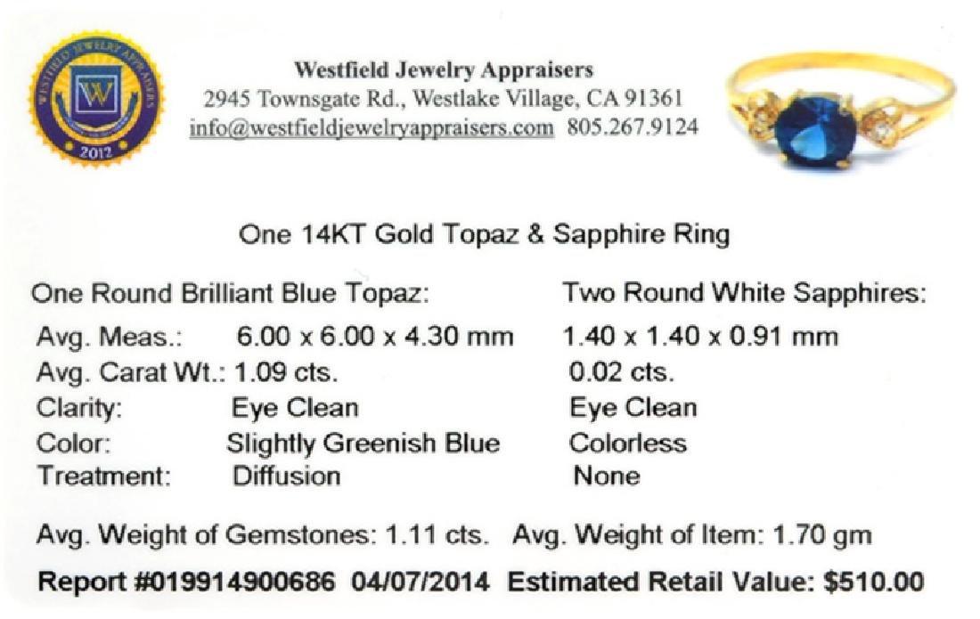 APP: 0.5k 14 kt. Gold, 1.09CT Round Cut Blue Topaz And - 2