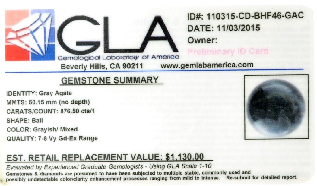 APP: 1.1k Rare 876.50CT Sphere Cut Gray Agate Gemstone - 2