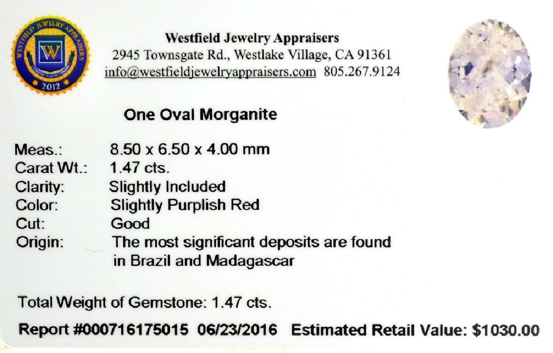 APP: 1k 1.47CT Oval Cut Morganite Gemstone - 2