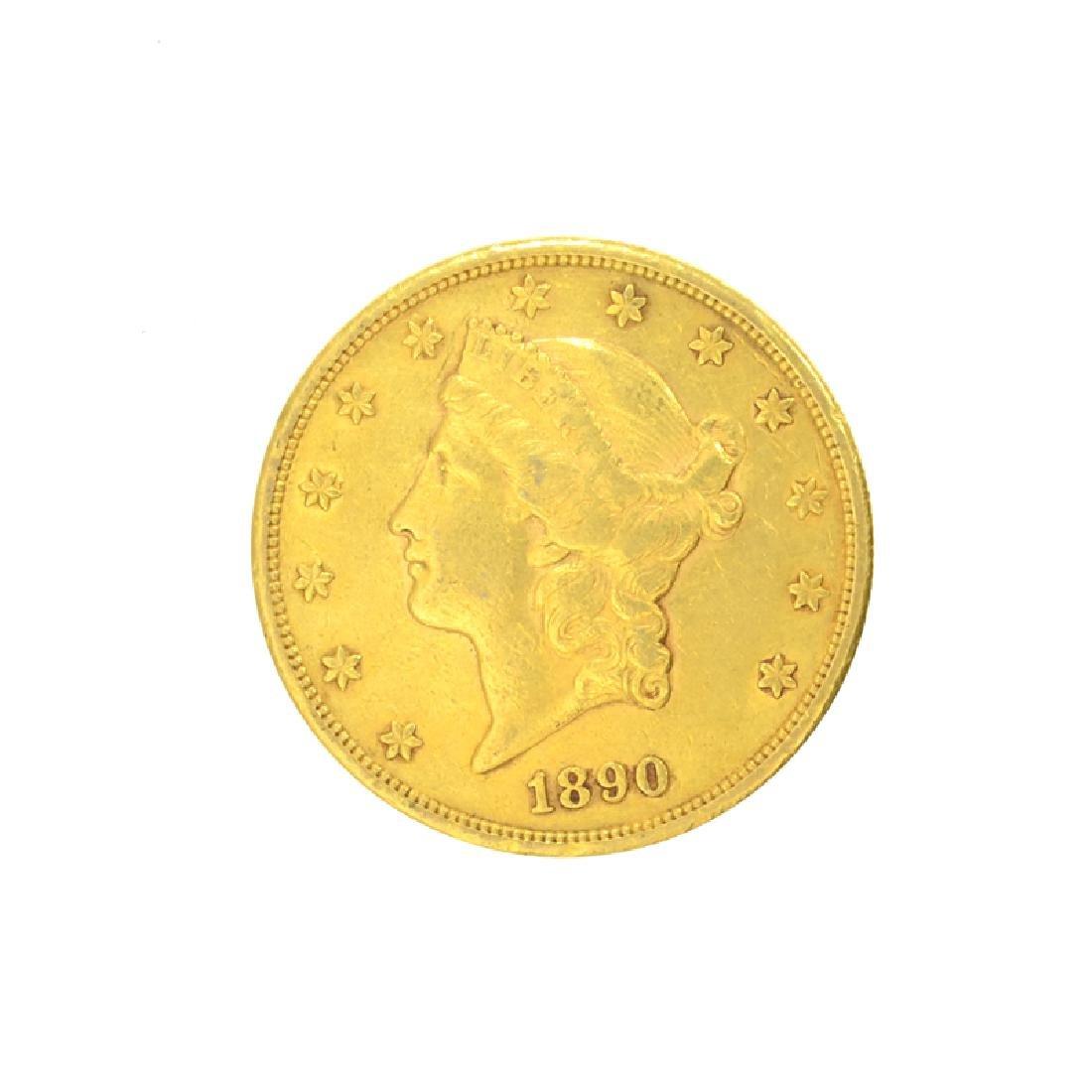 *1890-S $20 U.S. Liberty Head Gold Coin (DF)