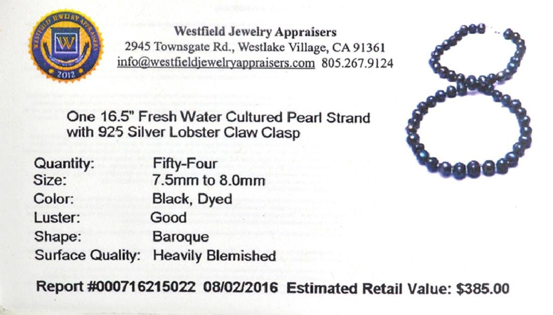 APP: 0.4k 16'' Black Dyed Pearl Strand with Sterling - 2