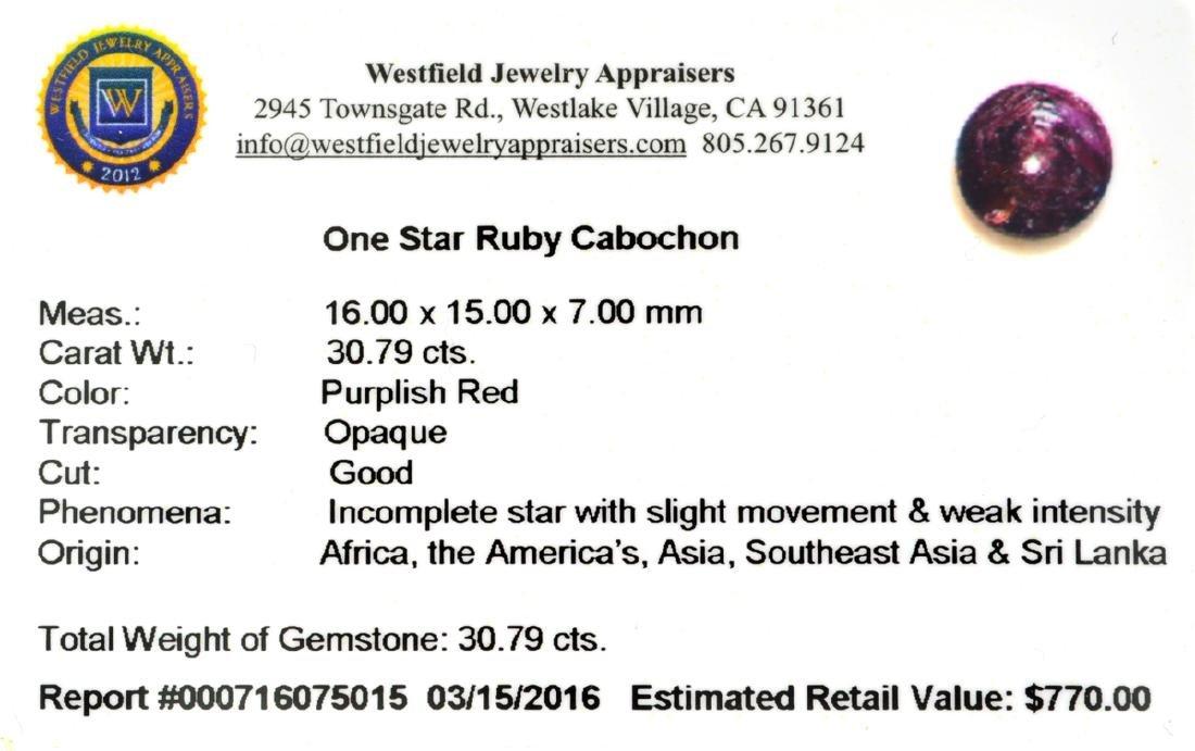 APP: 0.8k 30.79CT Cabochon Red Star Ruby Gemstone - 2