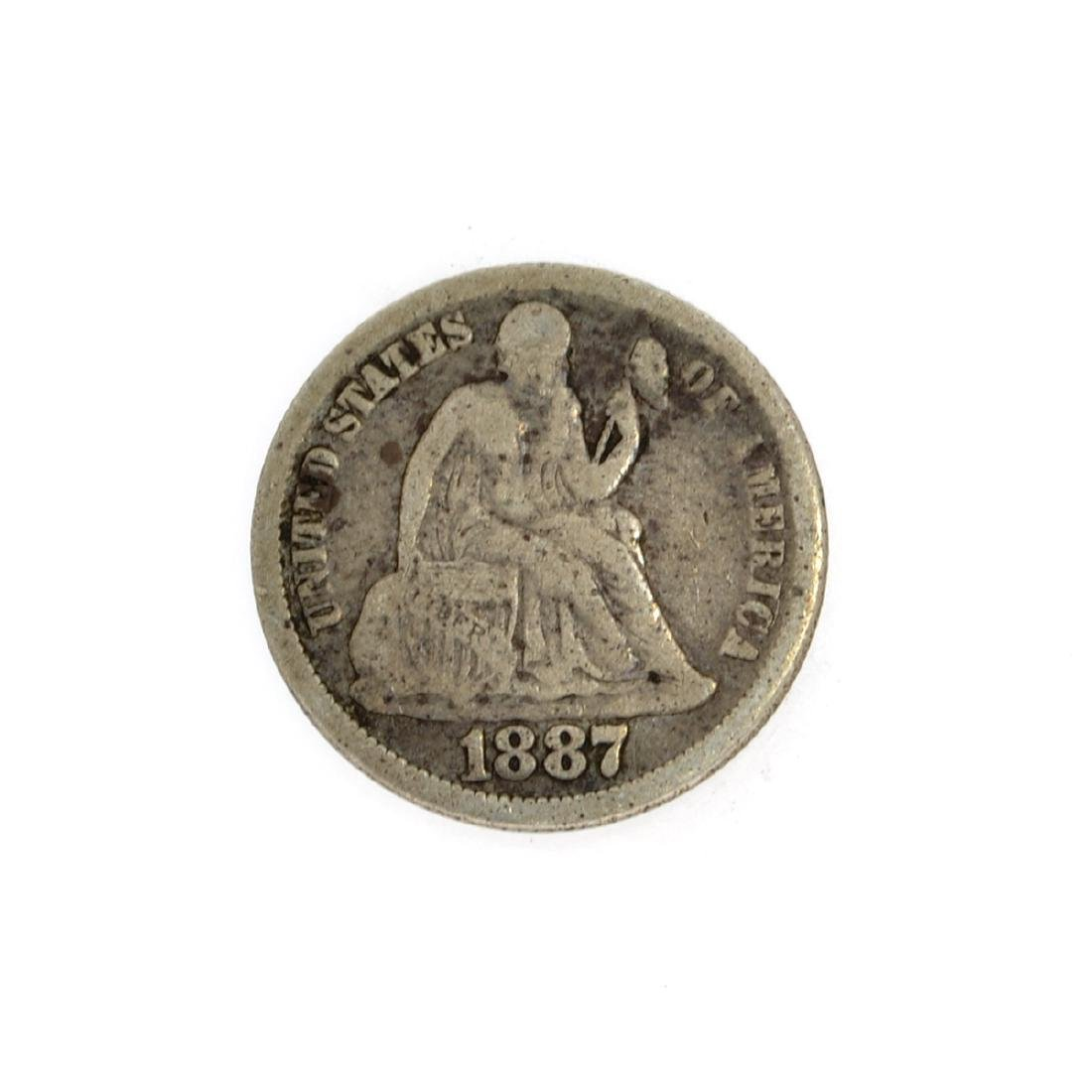 Rare 1887 Liberty Seated Dime Coin