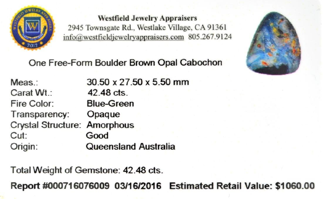 APP: 1.1k 42.48CT Free Form Cabochon Brown Boulder Opal - 2