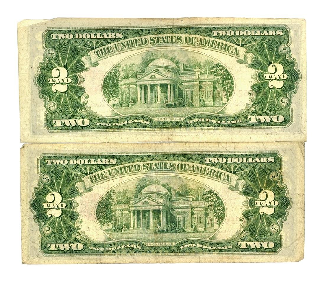 Rare (2) 1953 $2 U.S. Red Seal Notes - 2