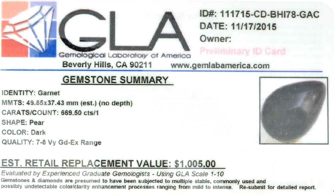 APP: 1k Rare 669.50CT Pear Cut Dark Garnet Gemstone - 2