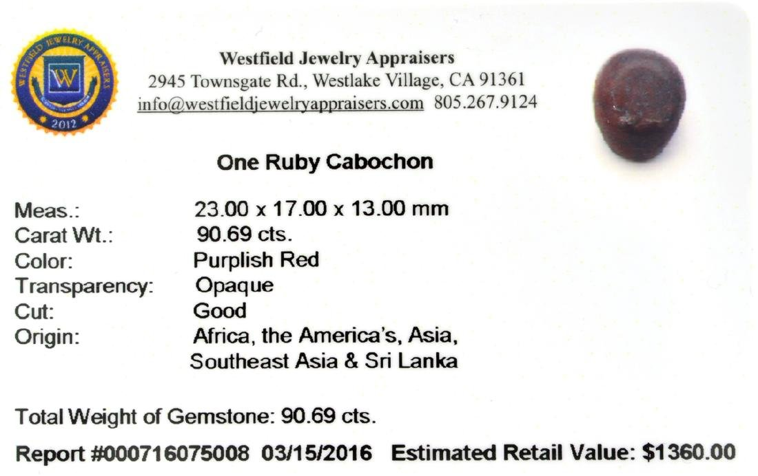 APP: 1.4k 90.69CT Cabochon Red Ruby Gemstone - 2