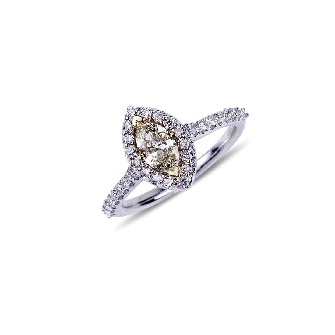 APP: 4.9k *14 kt. Two Tone Gold, 0.98CT Diamond Ring