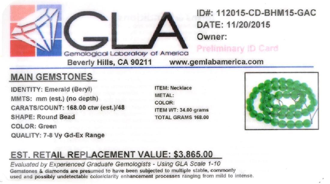 APP: 3.9k 168.00CT Round Cut Green Beryl Emerald Bead - 2