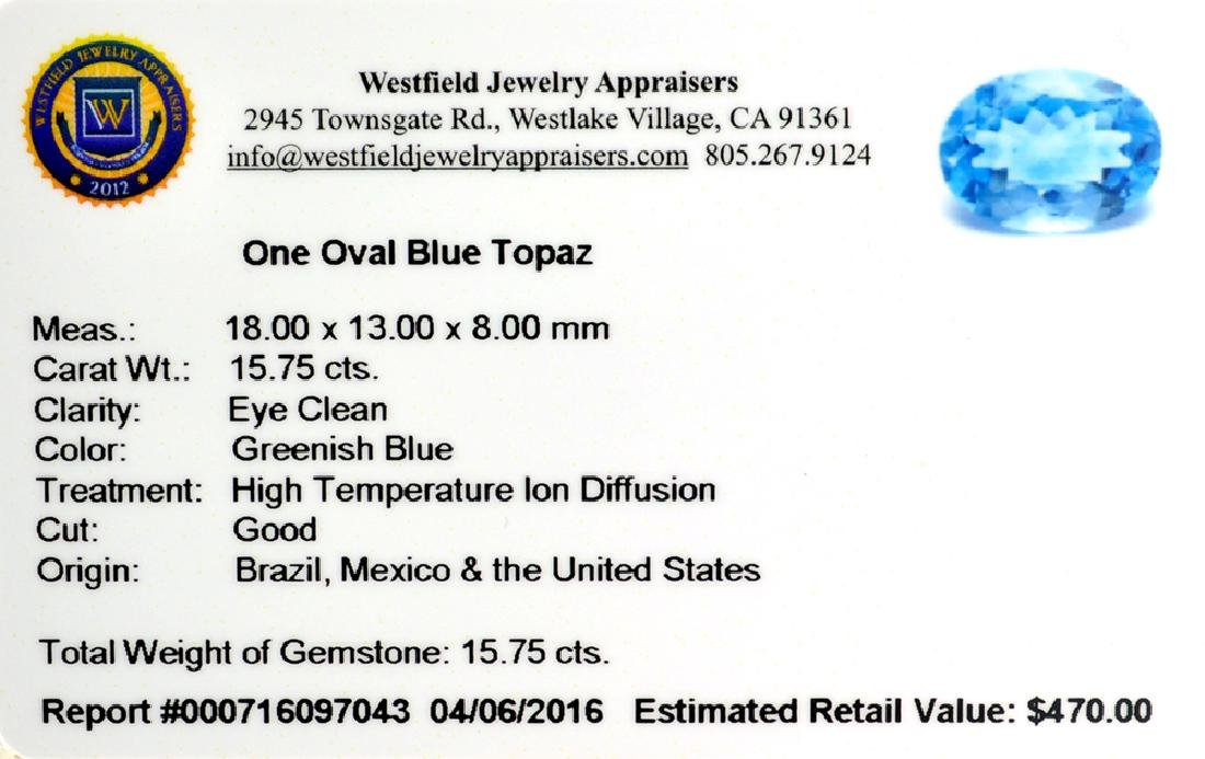 APP: 0.5k 15.75CT Oval Cut Blue Topaz Gemstone - 2