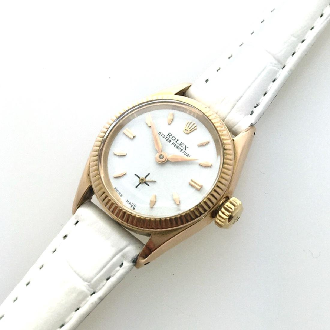 *ROLEX Oyster Perpetual 18KT Gold Sapphire, White