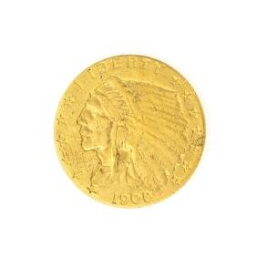 *1908 $2.50 U.S. Indian Head Gold Coin - Great