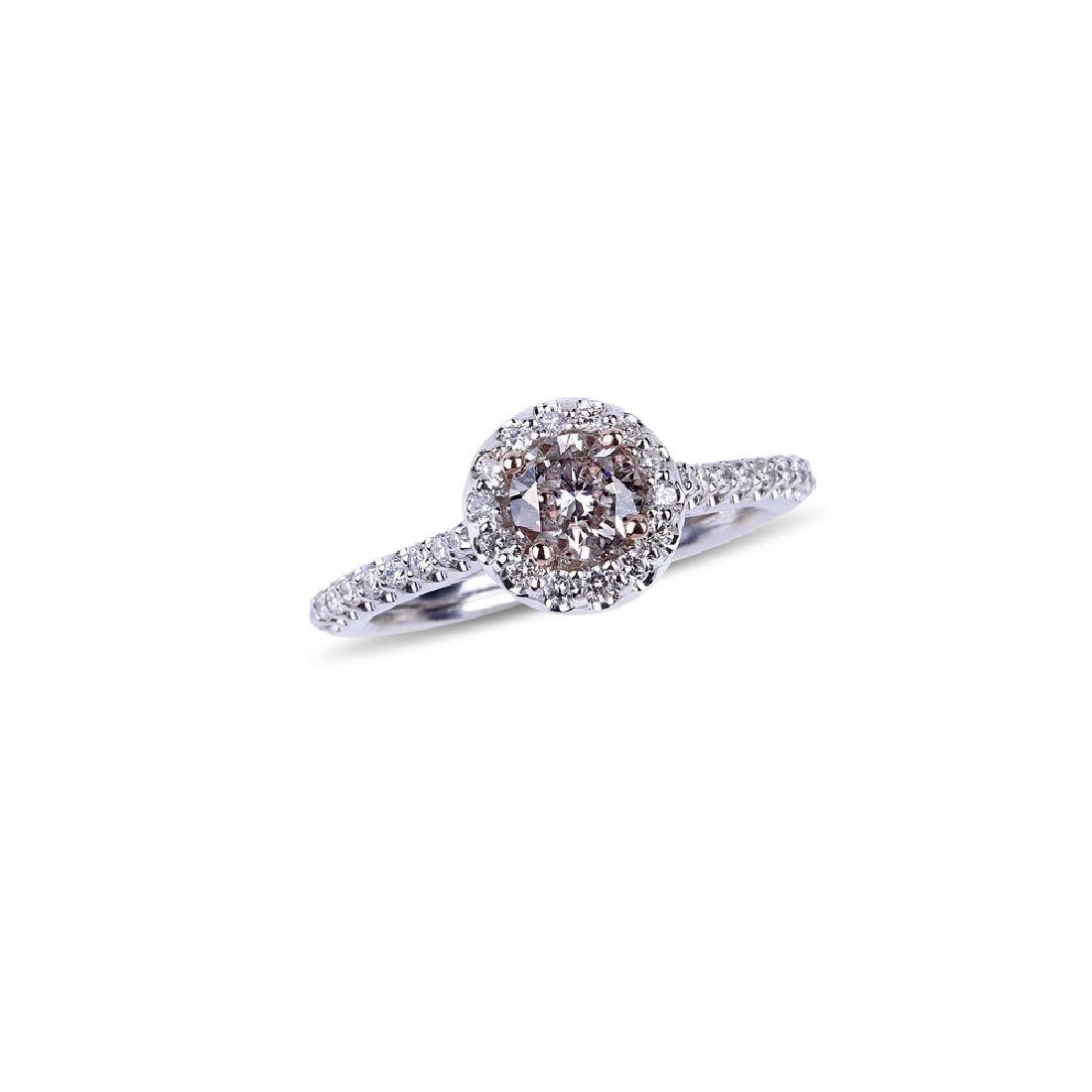 APP: 7.5k *14 kt. Two Tone Gold, 0.96CT Round Cut