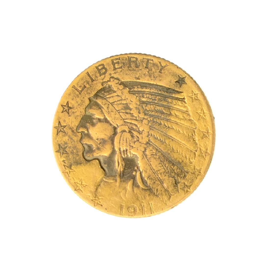 *1911 $5 U.S. Indian Head Gold Coin - Great Investment