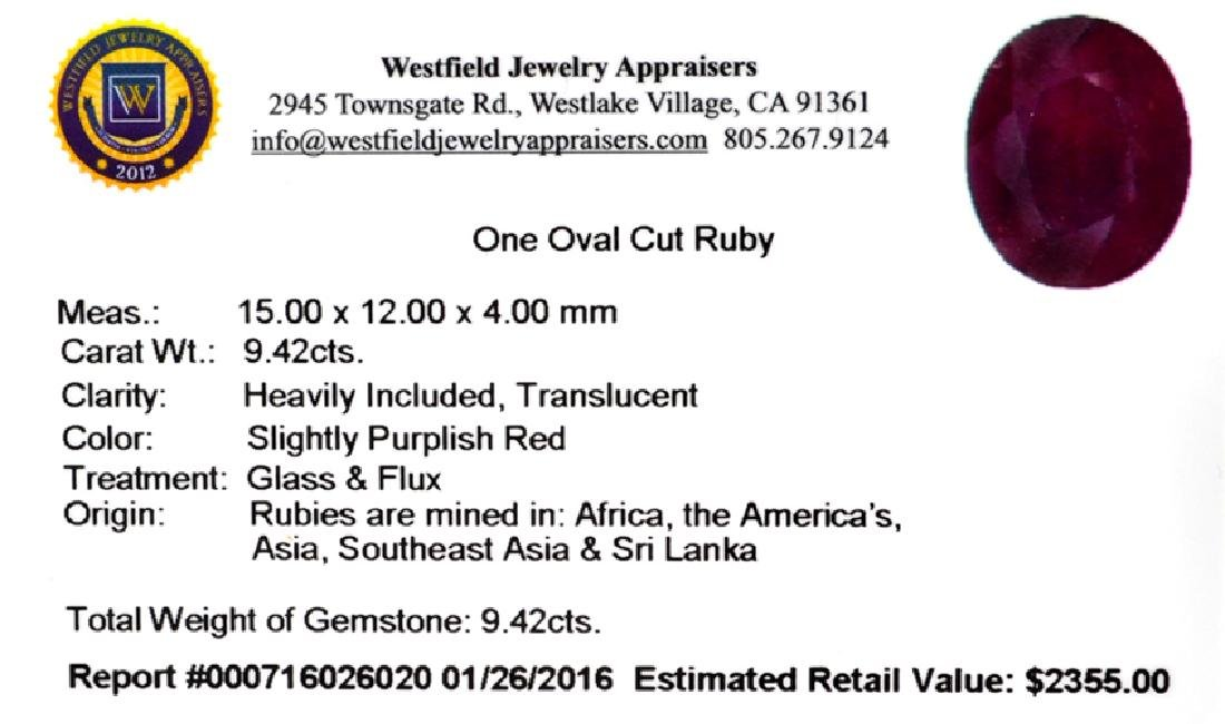 APP: 2.4k 9.42CT Oval Cut Ruby Gemstone - 2