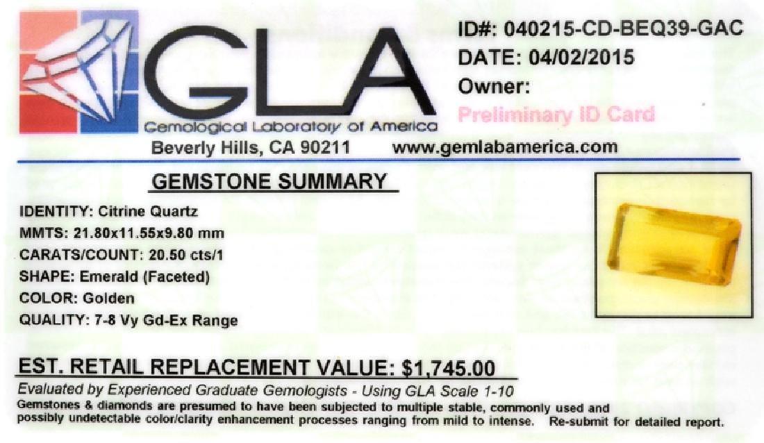 APP: 1.7k 20.50CT Emerald Cut Golden Citrine Quartz - 2