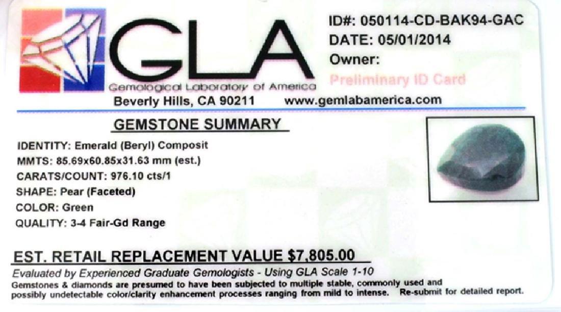 APP: 7.8k 976.10CT Pear Cut Green Beryl Emerald - 3