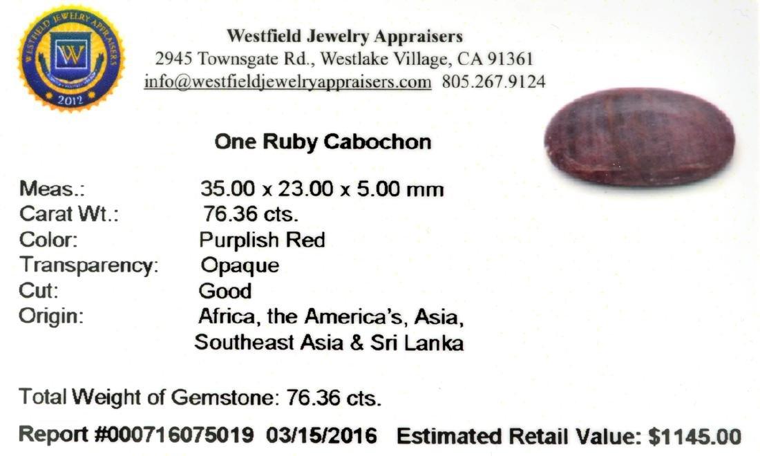 APP: 1.1k 76.36CT Cabochon Red Ruby Gemstone - 2