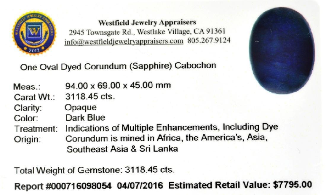 APP: 7.8k 3,118.45CT Oval Cut Cabochon Dark Blue - 2