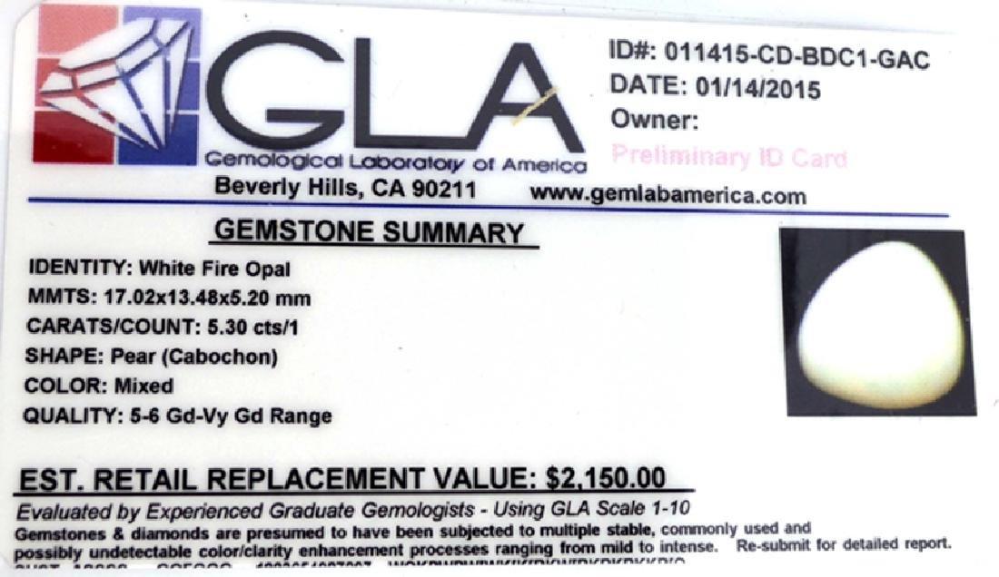 APP: 2.2k 5.30CT Pear Cut White Fire Opal Gemstone - 3