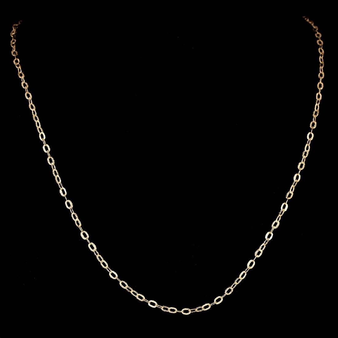 *Fine Jewelry 14KT Gold, 2.0GR, 18'' Corrugated Oval