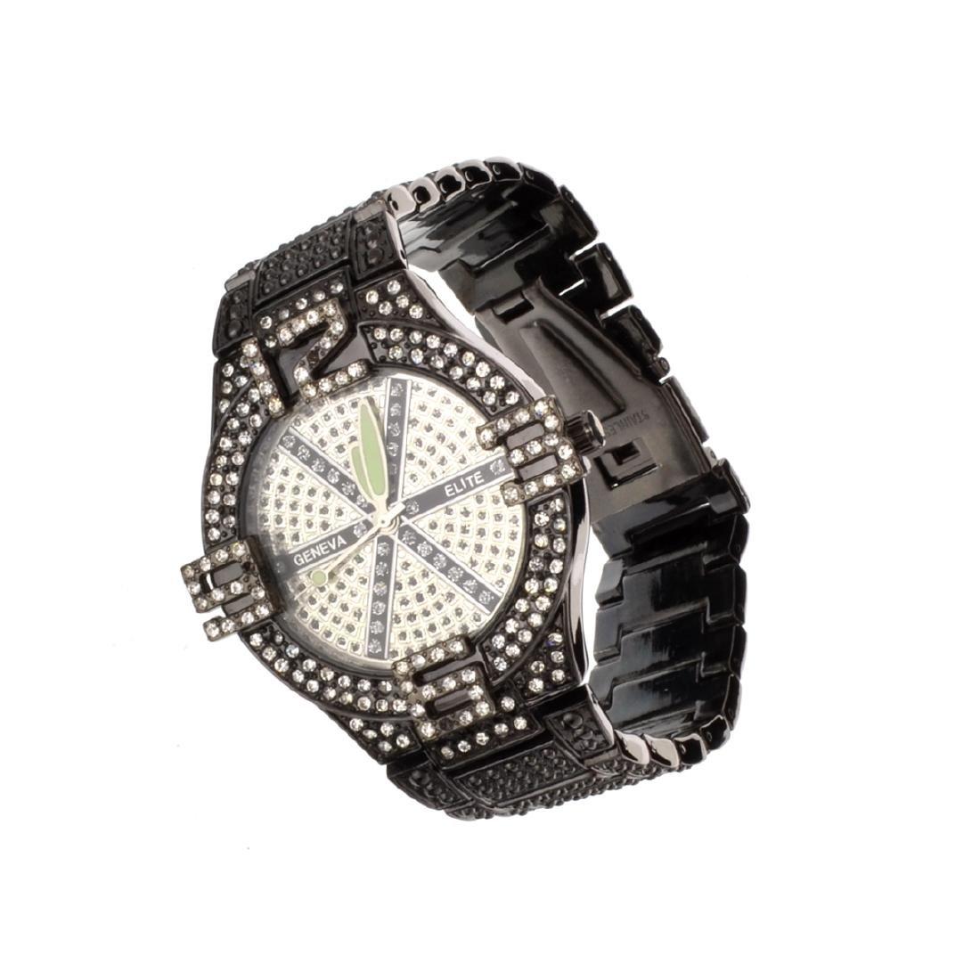 Geneva Stainless Steel Black Round Watch