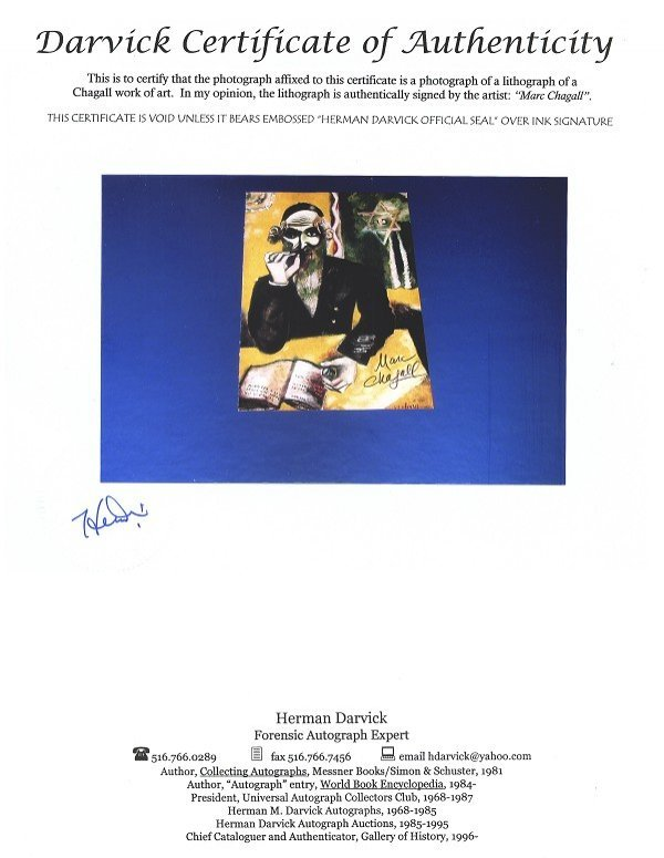2502: Chagall Hand Signed Book Photo