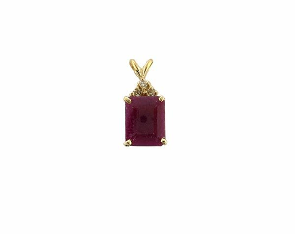 2517: GOV: 14 kt. Gold, 5.27CT Ruby and Diamond Pendant
