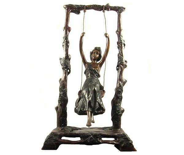 2523: Museum Quality Bronze: Swing Girl Bronze, 15'' x