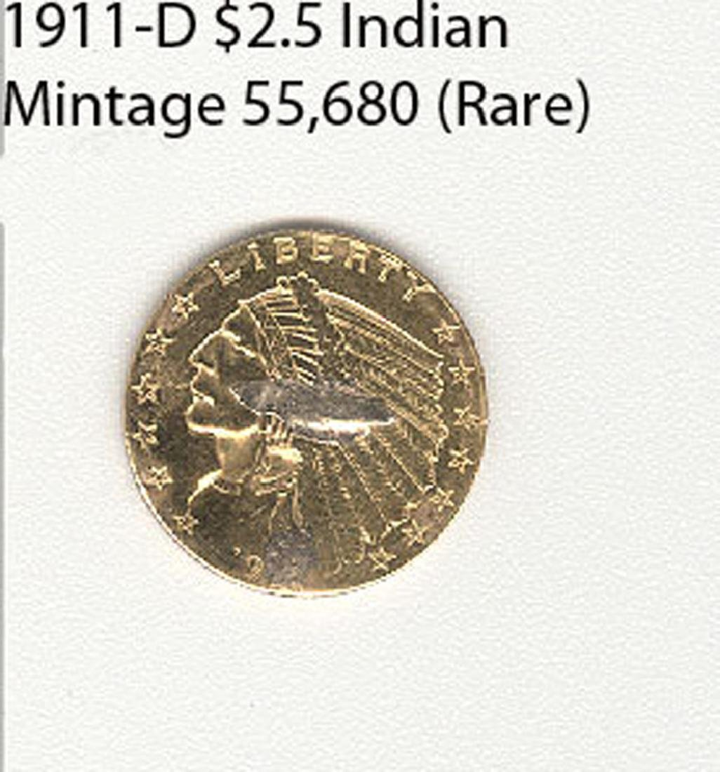 1911-D $ 2.5 Indian Mintage 55,680 Rare Coin