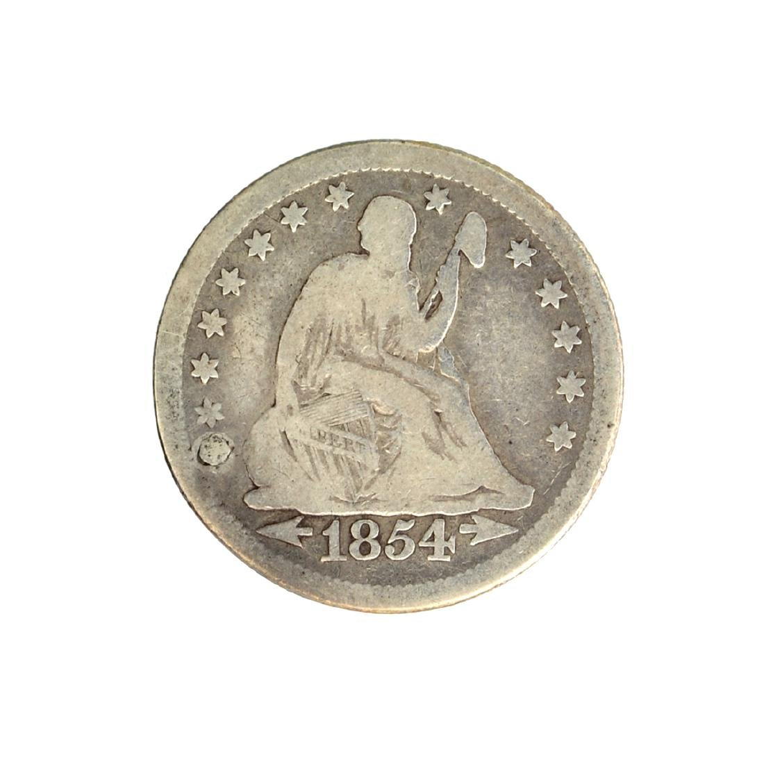 1854 Arrows At Date Liberty Seated Quarter Dollar Coin