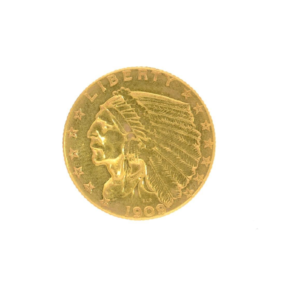 *1909 $2.50 U.S. Indian Head Gold Coin (JG N)