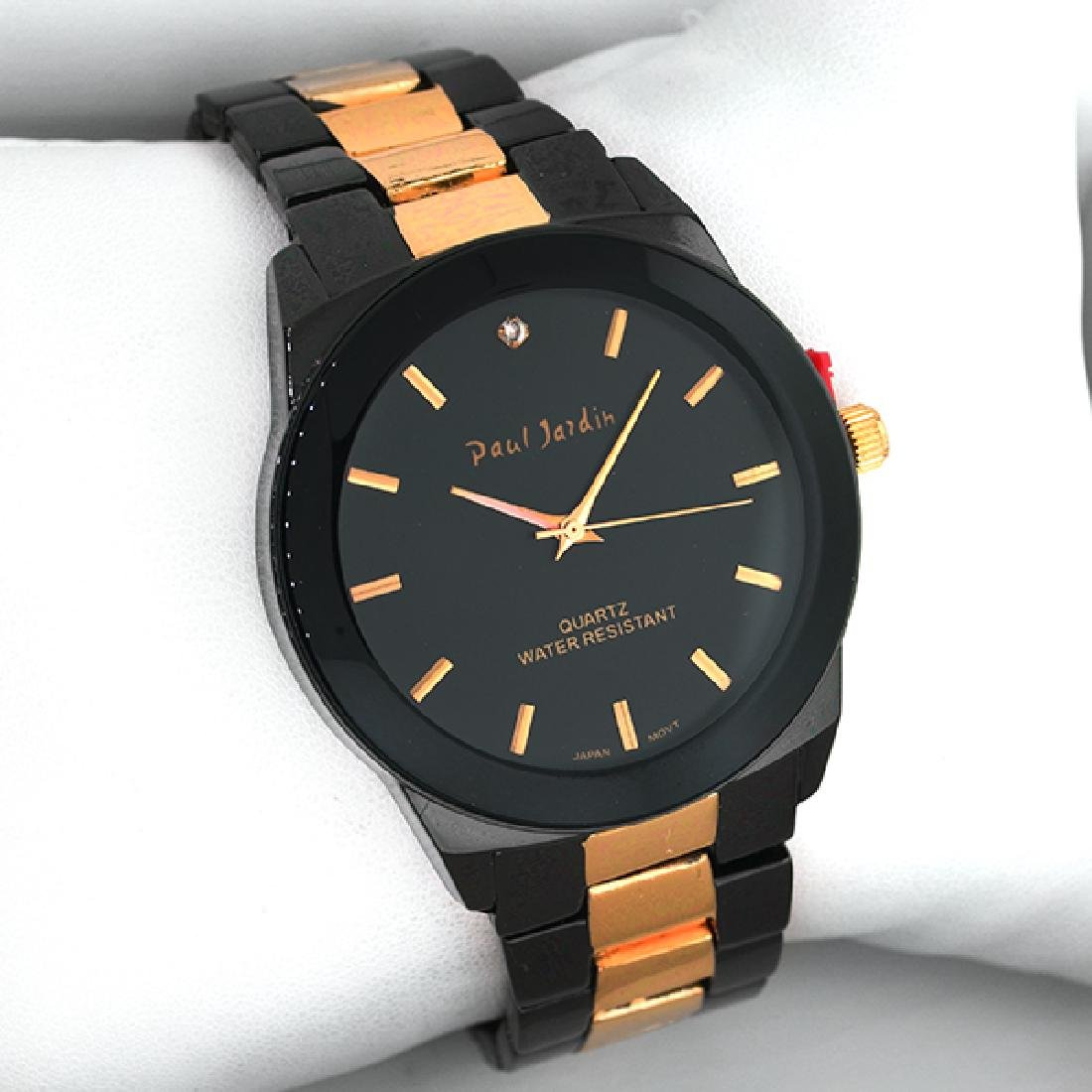 Paul Jardin  Men's Round Black and Copper Watch