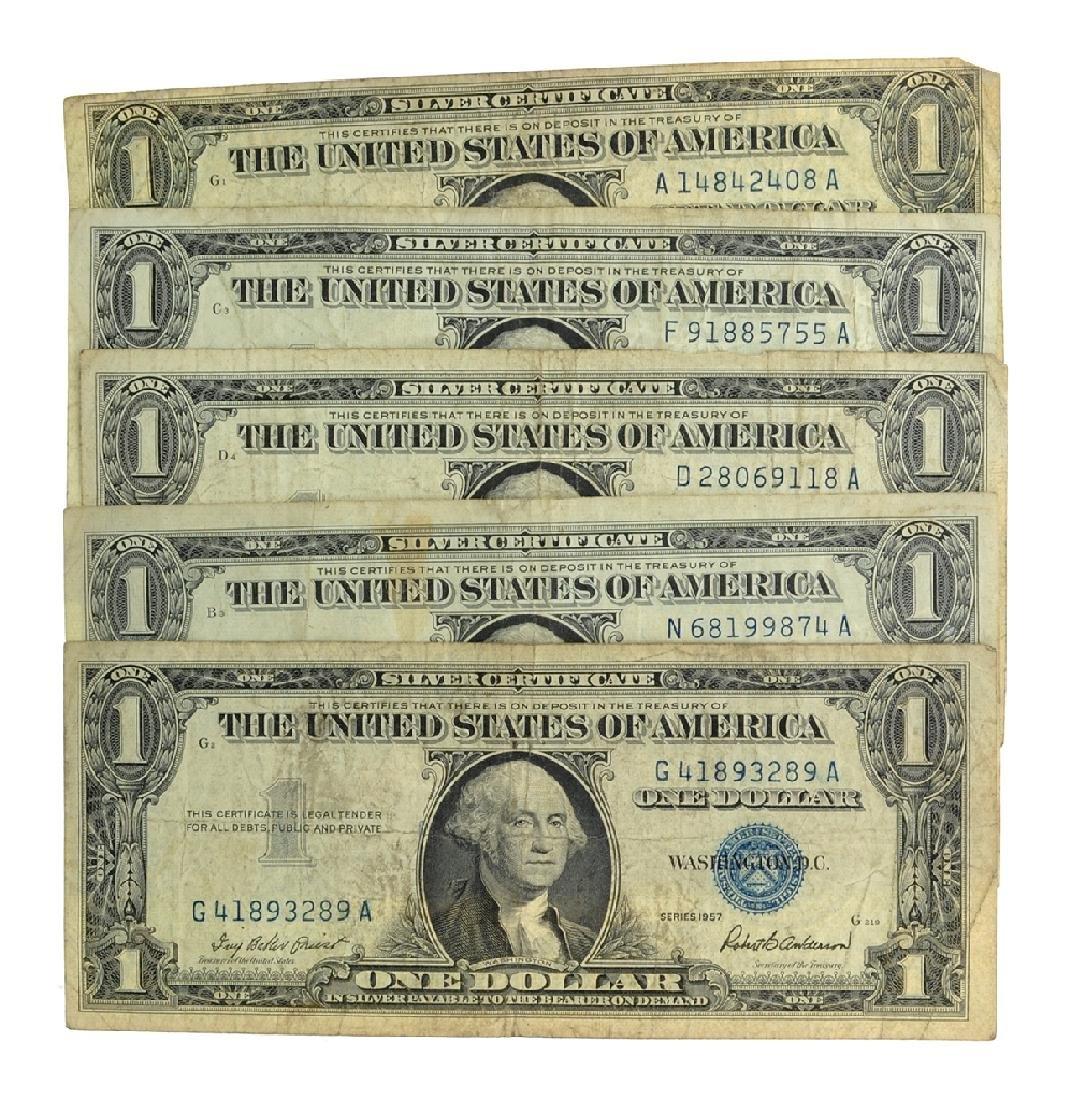 Rare (5) 1957 $1 U.S. Silver Certificates