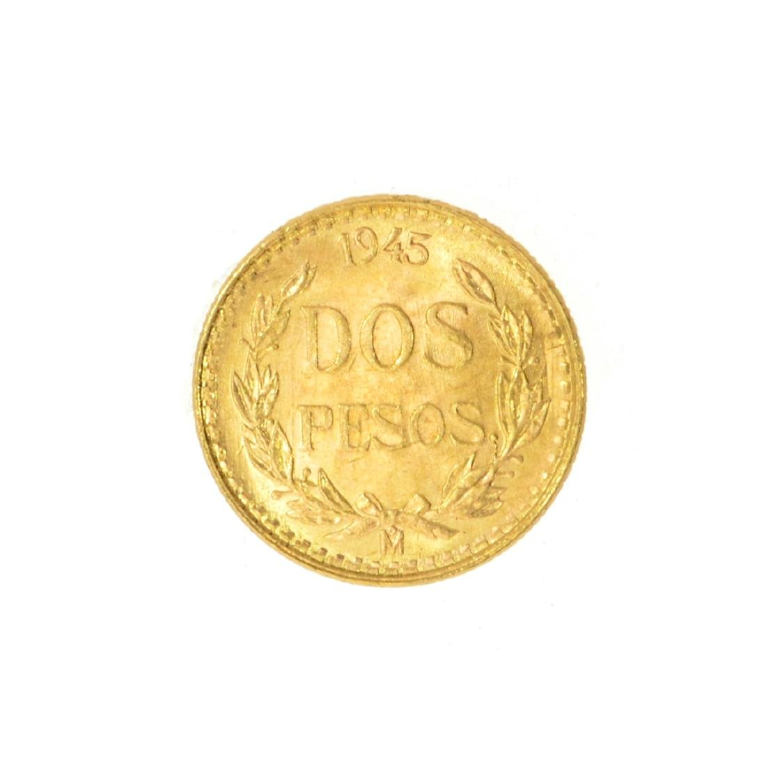 Rare 1945 Mexico Uncirculared Dos Pesos Gold Coin