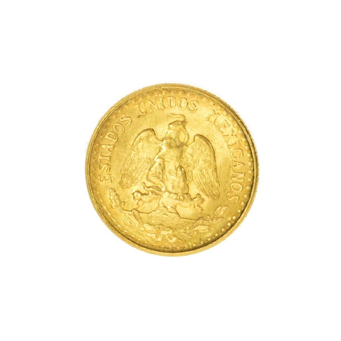 Rare 1945 Mexico Uncirculared Dos Pesos Gold Coin - 2