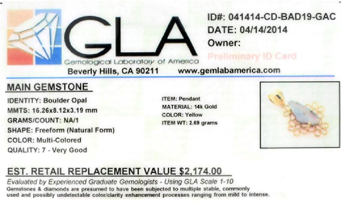 APP: 2.2k 14 kt. Gold, Natural Free Form Boulder Opal - 2
