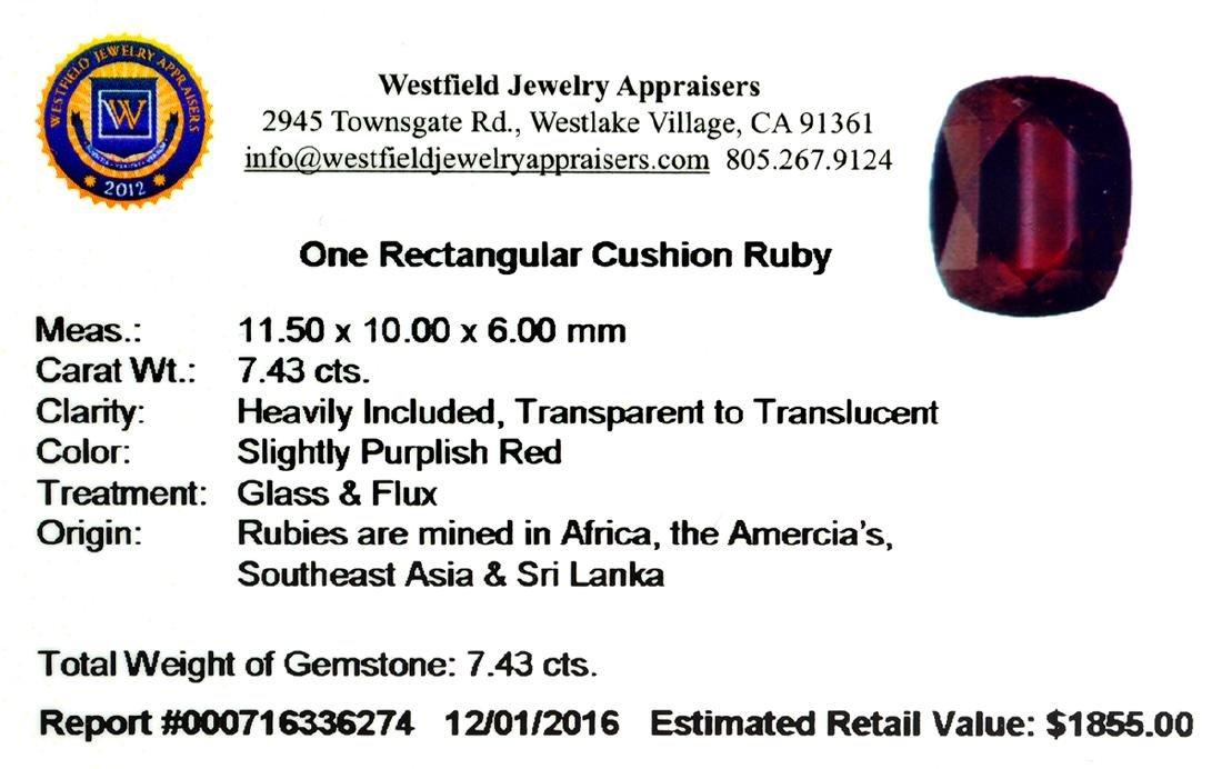 APP: 1.9k 7.43CT Rectangular Cut Ruby Gemstone - 2